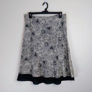 J.Jill A-Line Skirt Black Line Print w Lining, M